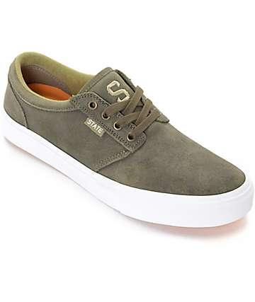 State Elgin Jordan Sanchez zapatos de skate en blanco y color olivo