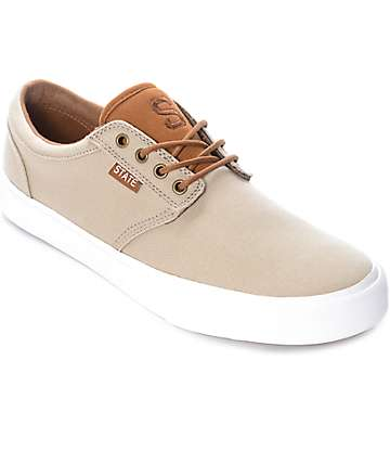 State Elgin Sand Canvas & Monk Robe Suede Skate Shoes