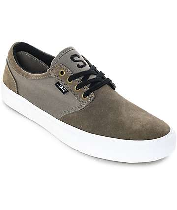 State Elgin Walnut & White Suede Skate Shoes