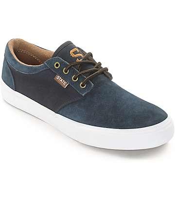 State Elgin zapatos de skate de ante en azul marino y marrón