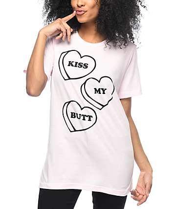 Stay Cute Kiss My Butt camiseta rosa