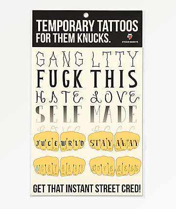 Stickie Bandits For Them Knucks Temporary Tattoos