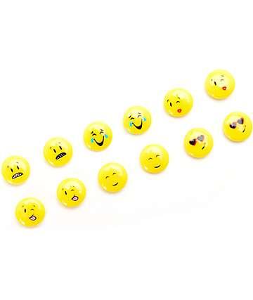 Stone + Locket <3 Eye Wink Emoji 6 Pack Earing Set