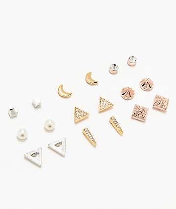 Stone + Locket  Metal Crystal Earring 9 Pack