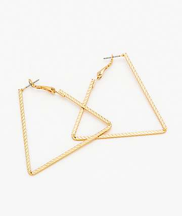 "Stone + Locket 2"" Triangle Hoop Earrings"