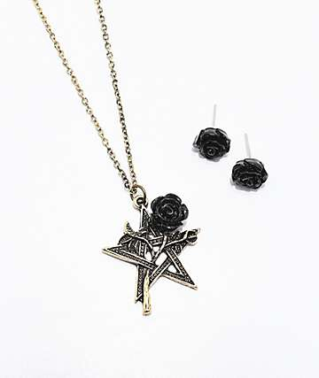 Stone + Locket Black Rose Necklace & Earrings 2 Pack