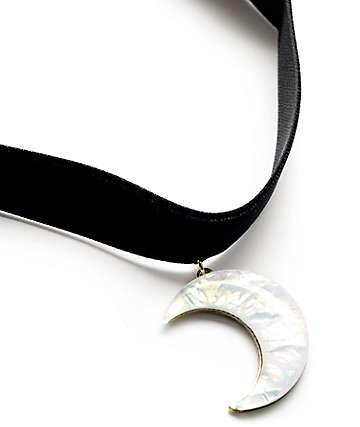 Stone + Locket Black Velvet Moon Crystal Choker