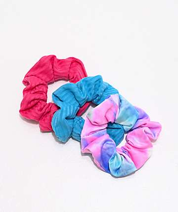 Stone + Locket Blue, Pink & Tie Dye 3 Pack Scrunchies