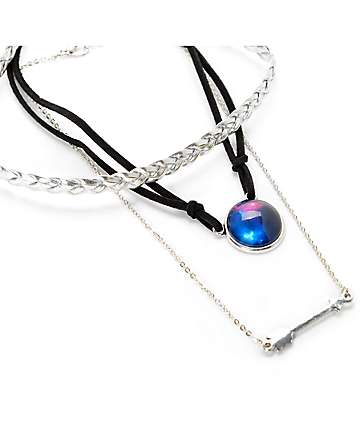 Stone + Locket Braid, Galaxy & Arrow Choker Necklace 3 Pack
