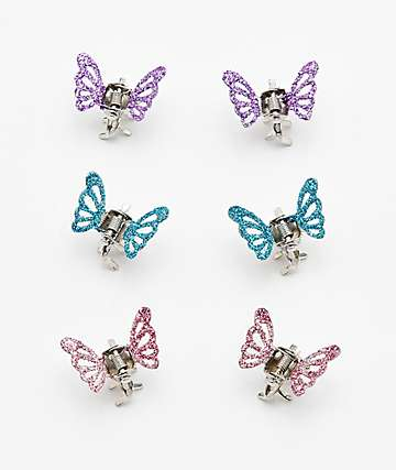 Stone + Locket Butterfly Hair Clip 6 Pack