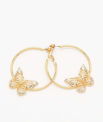 Stone + Locket Butterfly Hoop Earrings