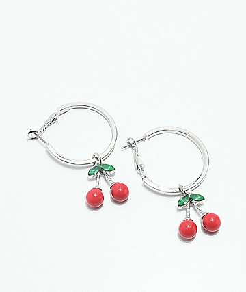Stone + Locket Cherry Silver Hoop Earrings