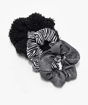Stone + Locket Dark Zebra 3 Pack Scrunchies