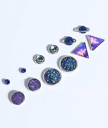 Stone + Locket Galaxy Crystal Multipack Earrings