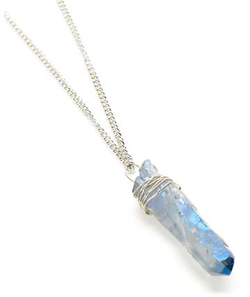 Stone + Locket Gris Grey Stone Silver Wrap Necklace