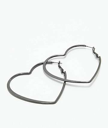 Stone + Locket Gunmetal Heart Hoop Earrings