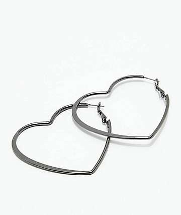 Stone + Locket Gunmetal Heart Hoop Earrings