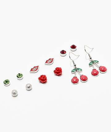 Stone + Locket Lucky Cherry Red Earring 6 Pack