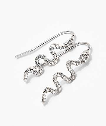 Stone + Locket Mini Embellished Snake Earrings