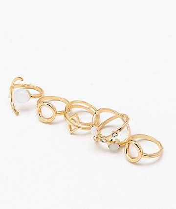 Stone + Locket Moonstone Ring Set
