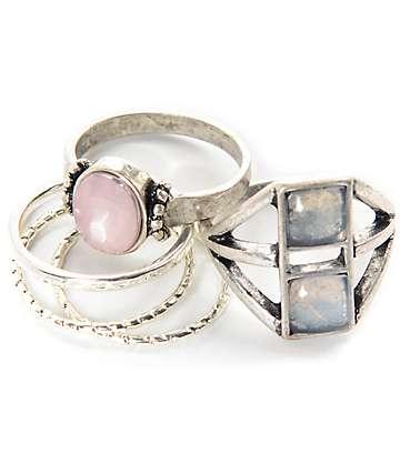 Stone + Locket Mystical Moon pack de anillos