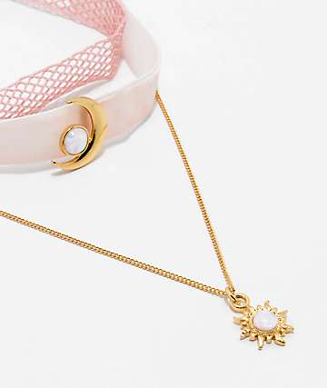 Stone + Locket Pink Mesh & Velvet Crescent Choker 3 Pack