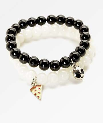 Stone + Locket Pizza & Alien Beaded Bracelet 2 Pack