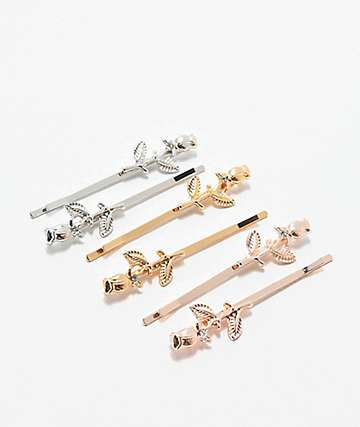 Stone + Locket Rose Stem Hair Clip 6 Pack