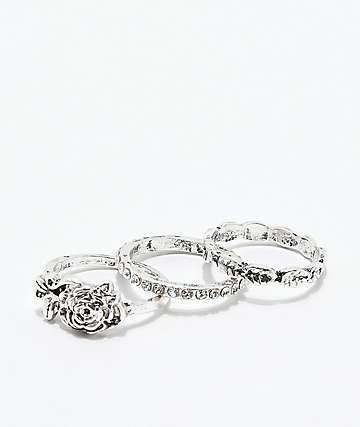 Stone + Locket Rosey Silver Rings 3 Pack