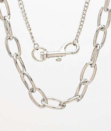 Stone + Locket Silver 2 Pack Industrial Chains
