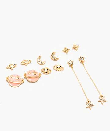 Stone + Locket Space Gold Earring 6 Pack