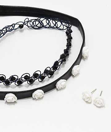 Stone + Locket Sparkly White Rose Choker 3 Pack