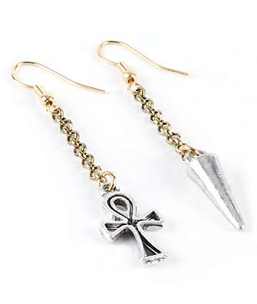 Stone + Locket Spike & Cross Mismatch Earrings