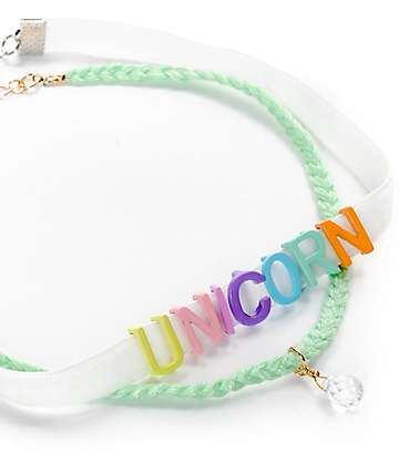 Stone + Locket Unicorn Letters Choker 2 Pack