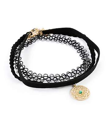 Stone + Locket Velvet & Tattoo Multipack Choker Necklaces