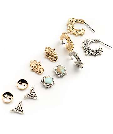 Stone + Locket Yin Yang, Hamsa & Mini Hoop Multipack pendientes