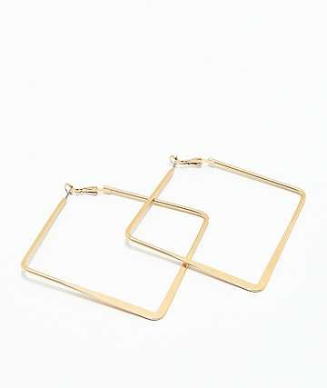 Stone + Locket pendientes de aro con diseño cuadrado de oro