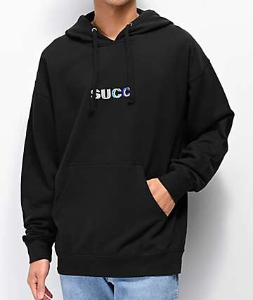 Succ Geometric Embroidered Logo Black Hoodie