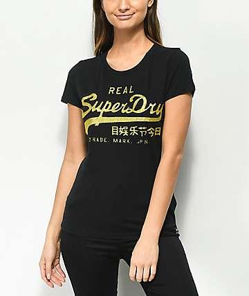 Superdry Vintage Logo Embossed Glitter Black T-Shirt