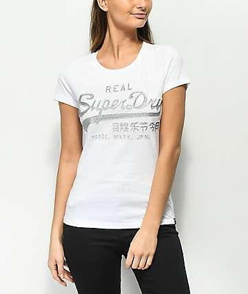Superdry Vintage Logo Embossed Glitter White T-Shirt