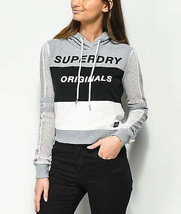 Superdry sudadera corta con capucha de malla en gris y negro