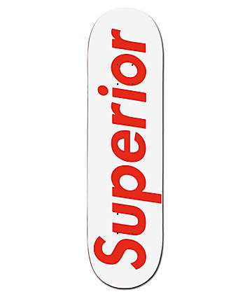"Superior Red & White 8.375"" tabla de skate"