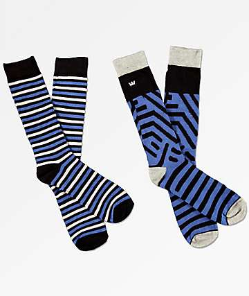 Supra 2 Pack Casual Royal Blue & Black Crew Socks