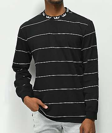 Supra Banned Black & White Stripe Long Sleeve Knit Shirt