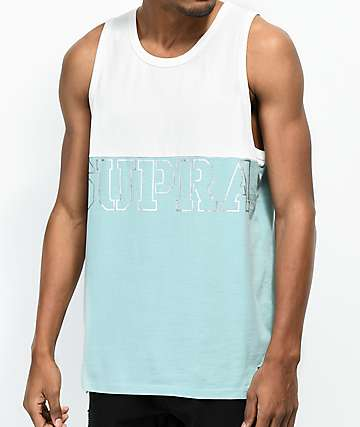 Supra Block White & Aqua Tank Top