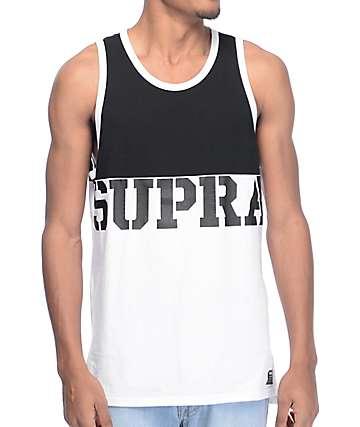 Supra Block camiseta sin mangas en blanco y negro