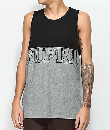 Supra Block camiseta sin mangas en gris y negro