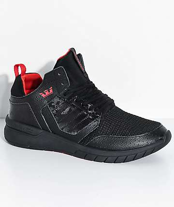 Supra Boys Method Black Leather & Mesh Shoes