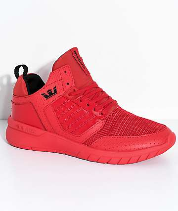 Supra Boys Method Red Leather & Mesh Shoes
