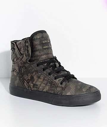 Supra Boys Skytop Camo & Black Skate Shoes
